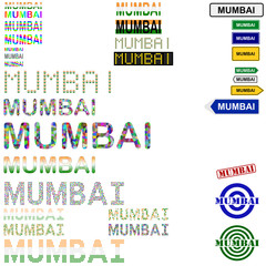 Mumbai (Bombay) text design set