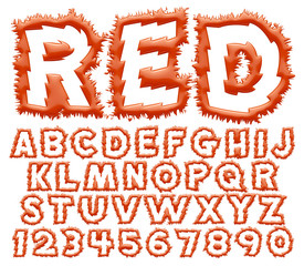 3d Red big alphabets with numbers on white background