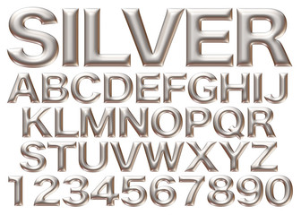3d Silver big alphabets with numbers on white background