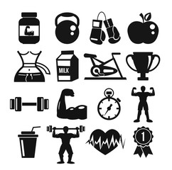 Vector sport and fitness icons set