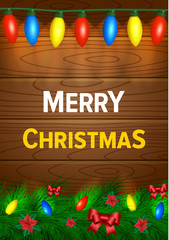 Christmas background with lights, wood and decorations
