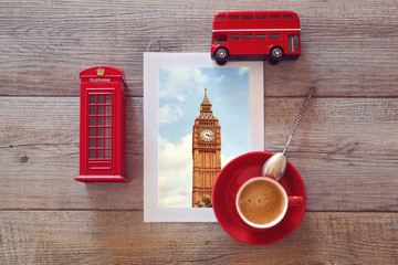 Photo of Big Ben in London with coffee and souvenirs