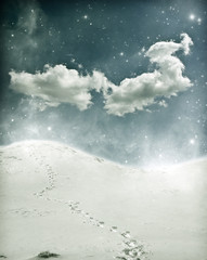Christmas background with snowy path