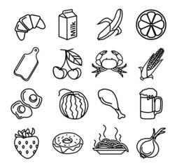 Vector food black icons set