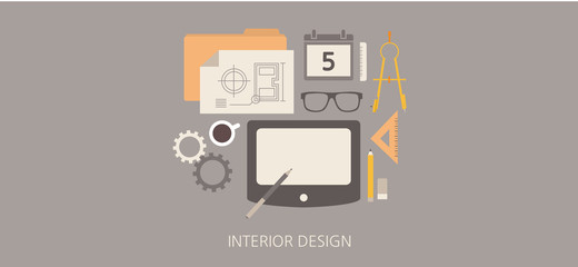 Modern and classic interior design flat illustration