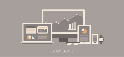 Modern and classic smart device flat illustration