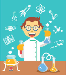 Chemistry scientist color flat vector illustration