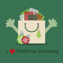 I love Christmas shopping, cute smiley gift bag with open hands