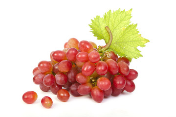 Red grape with leaf isolated
