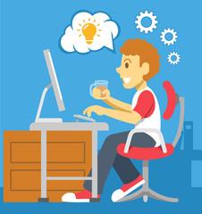 Stock vector color flat illustration of programmer
