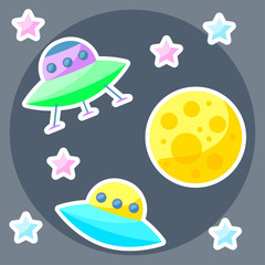vector space cover with colorful planet and ufo