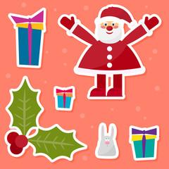 funny cartoon winter holidays set with cute Santa