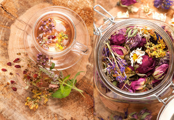 Collage herbal tea and dried herbs