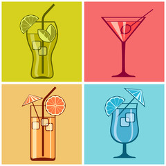Four cocktails on different color background, vector