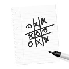 papierblatt filzstift tic tac toe I
