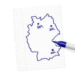 papierblatt filzstift deutschlandkarte I