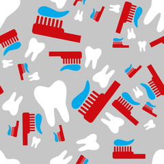 tooth and toothbrush seamless pattern