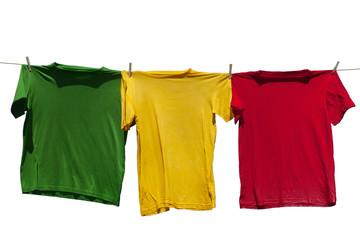 Shirts on clothesline.