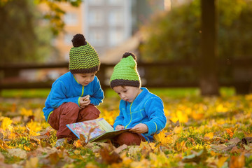 Two boys, reading a book on a lawn in the afternoon