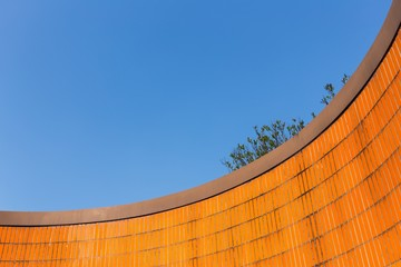 Vibrant Orange Tiles and Blue Sky