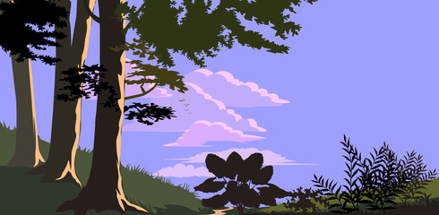 Forest trees and hills in flat color
