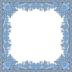blue colour floral vintage frame, ukrainian ethnic style