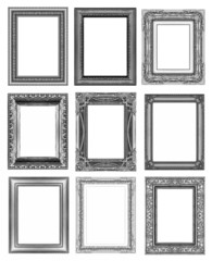set 9 of vintage gray frame isolated on white background.