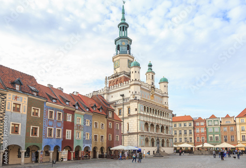 Fototapeta Town Hall and Tenement houses on Market Square in Poznań