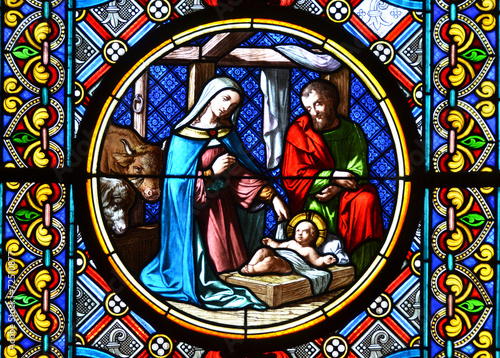 Obraz na Plexi Nativity Scene. Stained glass window