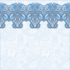 ornamental background with blue colour flower ribbon