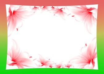 Рамка с лилиями в зеленых тонах