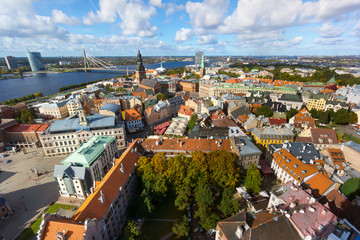 Top view of the old city of Riga