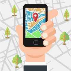 Vector mobile phone with map illustration