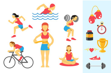 Vector womans sport and fitness infographics