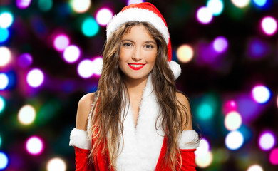 Gorgeous woman wearing Santa Claus costume