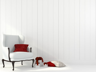 White armchair and decorations for Christmas