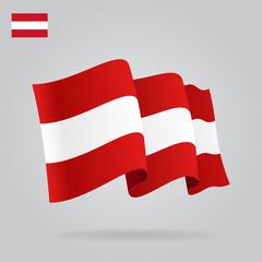 Flat and waving Austrian Flag. Vector