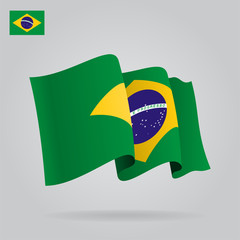 Flat and waving Brazilian Flag. Vector