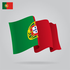 Flat and waving Portuguese Flag. Vector