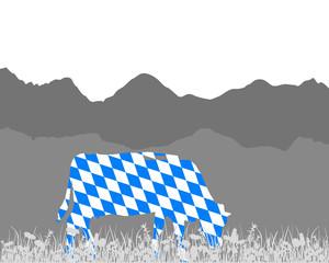 Kuh Alm und Bayernfahne