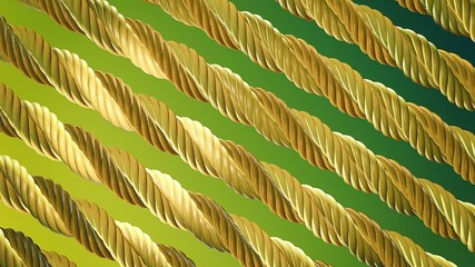 Abstract rotating metal rope in gold