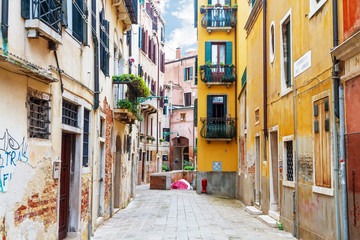 Old city street in Venice. Italy. Europe