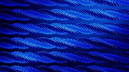 Abstract rotating metal rope in blue