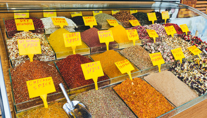Colorful Spices at Egyptian Market (Spice Bazaar) in Istanbul