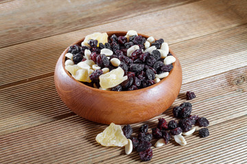 Mixed nuts with raisins close up on a wooden background