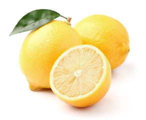 Fresh lemon with leaf