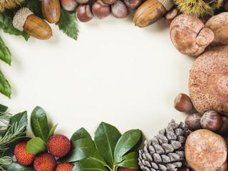 Marco con espacio en blanco y frutos de otoño y Navidad