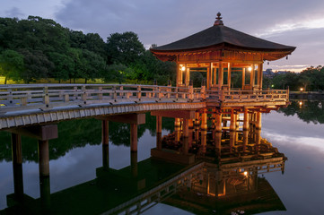 Ukimido Pavilion and the reflections in the lake, Nara, Japan