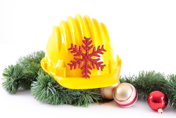 Construction helmet and christmas