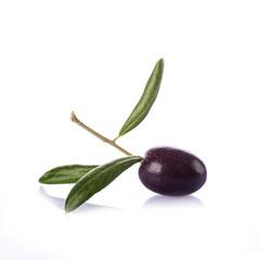 Aceituna negra con hojas aislada sobre fondo blanco